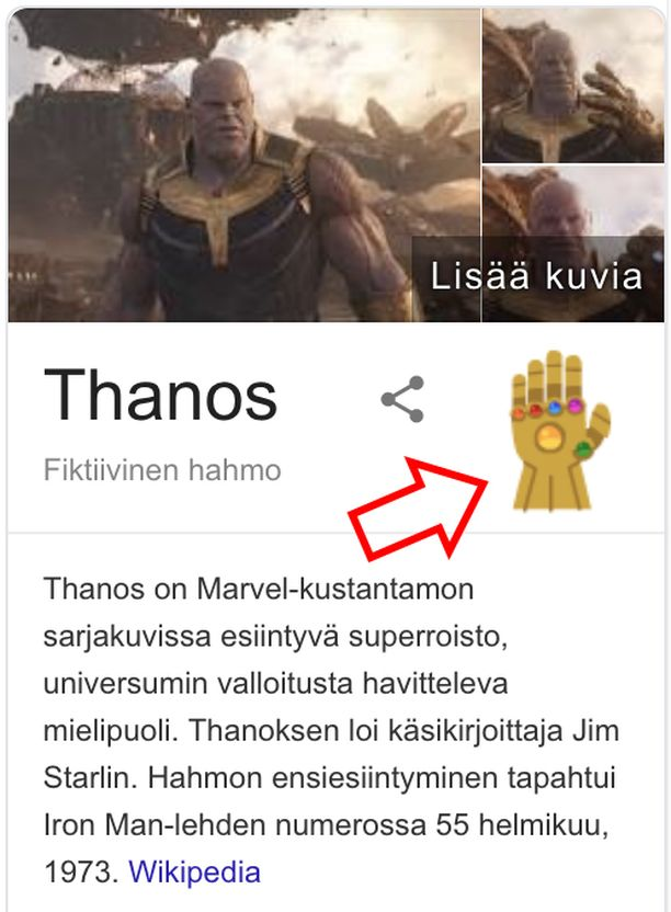 Tältä Infinity Gauntletin kuvake näyttää.