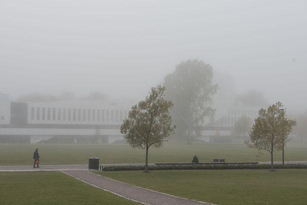 Sankka sumu kuvattuna Helsingin Töölönlahdella torstaina kello 15:30.