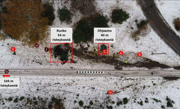 Maastokuorma-autossa matkustaneiden varusmiesten sijainti maastossa onnettomuuden jälkeen. Kuolleiden varusmiesten sijainti merkitty mustalla ja loukkaantuneiden punaisella.