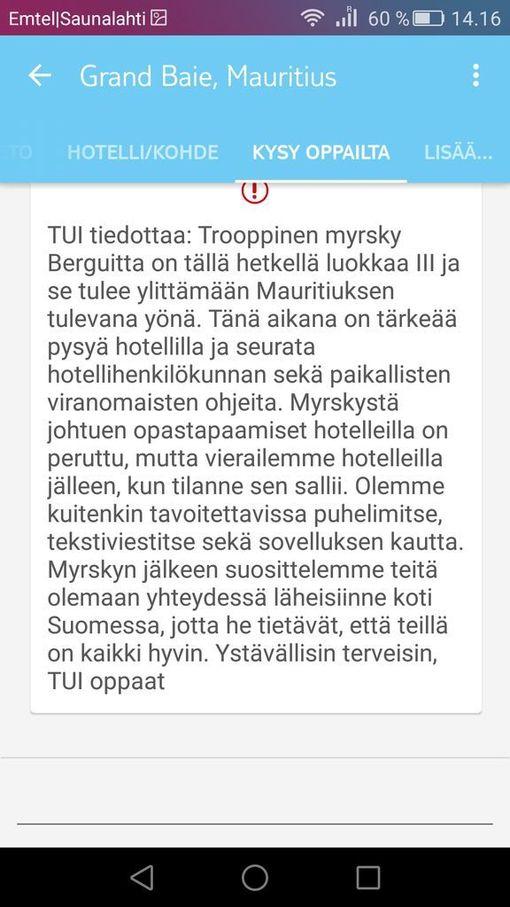 Matkanjärjestäjä TUI varoittaa Mauritiuksella olevia suomalaisia trooppisesta syklonista.