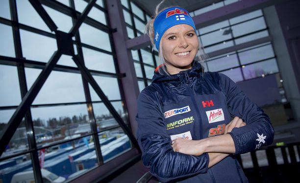 Mari Laukkanen oli viime vuonna mukana Lahden MM-hiihdoissa vapaan sprintissä.