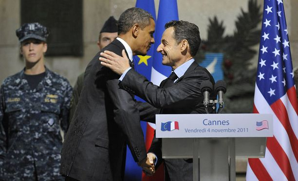 Obama ja Sarkozy Cannesin G20-huippukokouksessa.