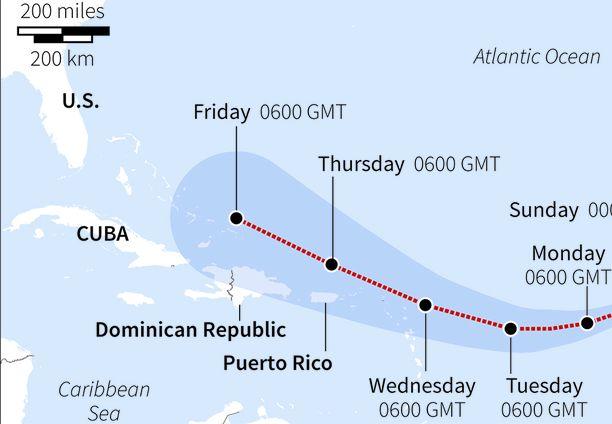 Irman tulevaa reittiä ei vielä pystytä tarkasti ennustamaan.
