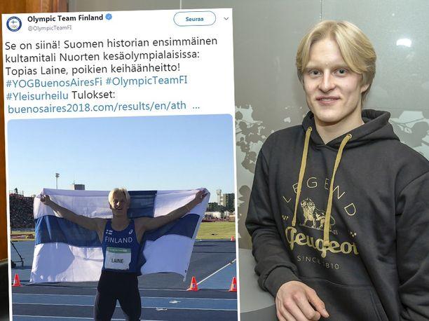 Topias Laine on tuore nuorten olympiavoittaja.