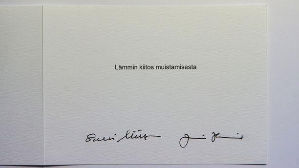 Kortin olivat allekirjoittaneet sekä Sauli Niinistö että Jenni Haukio.