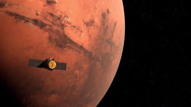 Arabiemiraattien MBRSC -avaruustutkimuskeskuksen näyttää mallinnuksen Hope-luotaimen saapumisesta Marsin kiertoradalle.