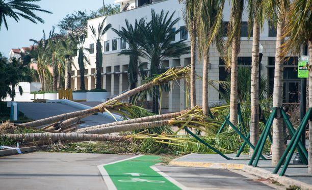 Miami Beach maanantaina hurrikaani Irman jäljiltä. Joka puolella on kaatuneita puita kuten kuvassa näkyvän kuuluisan Versacen rakennuksen päällä Ocean Drivella.