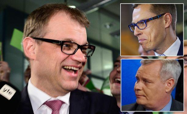 Suurimmat lisätuet uusien edustajapaikkojen vuoksi saa keskusta. Isoimpia häviäjiä ovat sdp ja kokoomus, jotka molemmat menettivät useita paikkoja. Kuvassa puolueiden puheenjohtajat Juha Sipilä (kesk), Alexander Stubb (kok) ja Antti Rinne (sd).