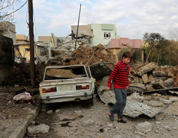Isis tekee edelleen Mosulissa itsemurhaiskuja. Kuva tammikuulta 2017.