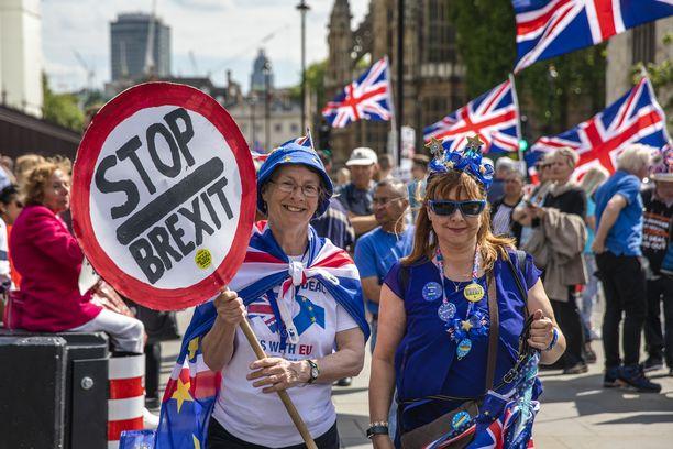 Westminsterin edustalla on Lontoossa osoitettu jatkuvasti mieltä sekä brexitin puolesta että sitä vastaan.