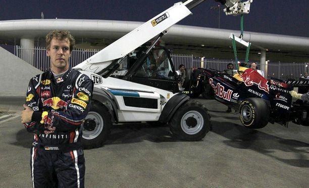 Sebastian Vettelin harjoitukset päättyivät epäonnisesti.