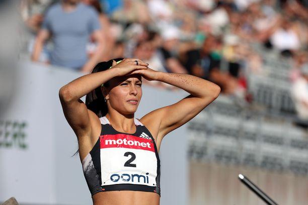 Maria Huntington ei ollut tyytyväinen esityksiinsä Kalevan kisojen ottelussa lauantaina Turussa.
