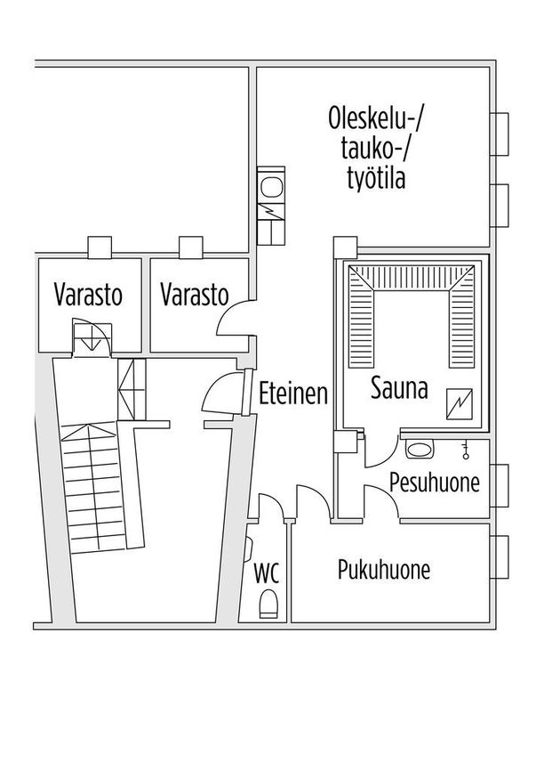 Tältä näyttää Teuvo Hakkaraisen ja Ville Vähämäen vuokraama sauna. Vähämäki käyttää sitä pesutupana.