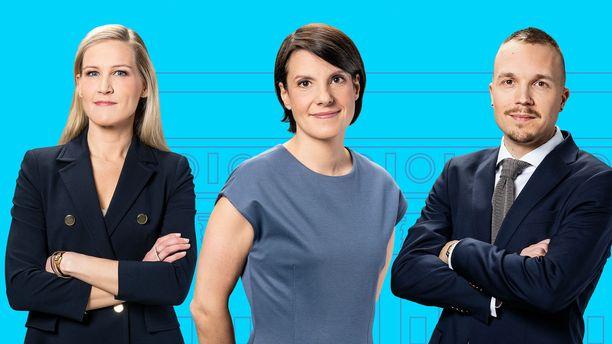 Marja Sannikka (vas.), Kirsi Heikel (kesk.) ja Olli Seuri (vas.) juontavat Ylen vaalilähetykset keväällä 2019.