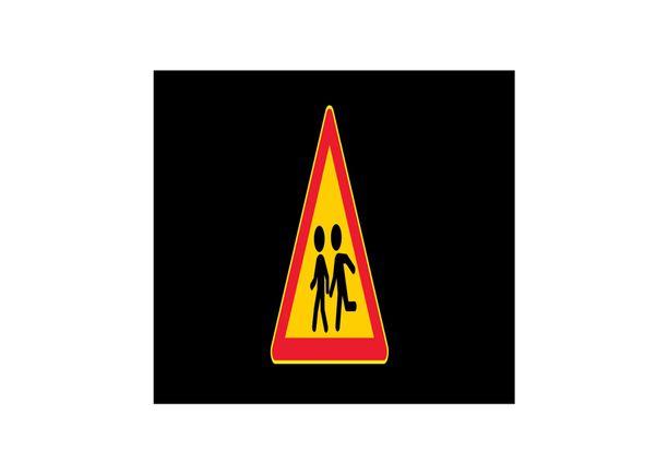 Tehostemerkki, jossa mukana varoitus lapsista.
