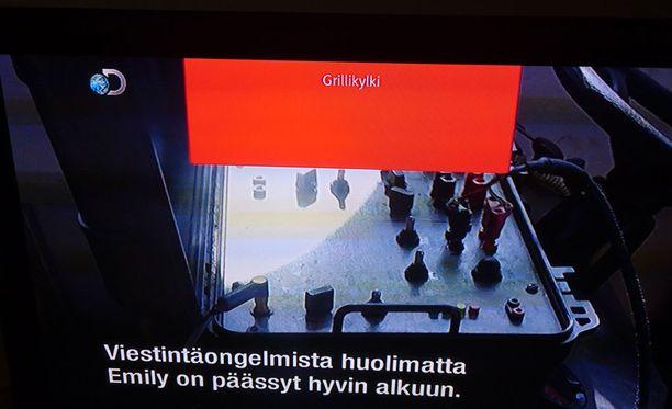 Muun muassa tällaisessä punaisessa laatikossa Grillikylki-teksti näkyi televisiolähetyksissä.