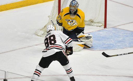Pekka Rinne musersi Patrick Kanen itseluottamuksen. Chicagon supertähti onnistui ohittamaan suomalaisen vain kerran.