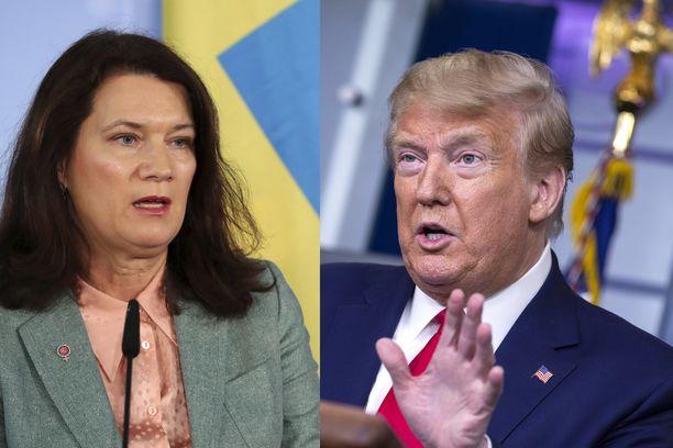 Ruotsin ulkoministeri Ann Linde kommentoi Yhdysvaltojen presidentin Donald Trumpin puheita keskiviikkona.