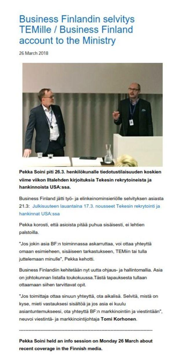 """Business Finlandin pääjohtajan Pekka Soinin mukaan """"asioista pitää puhua sisäisesti, ei lehtien palstoilla""""."""