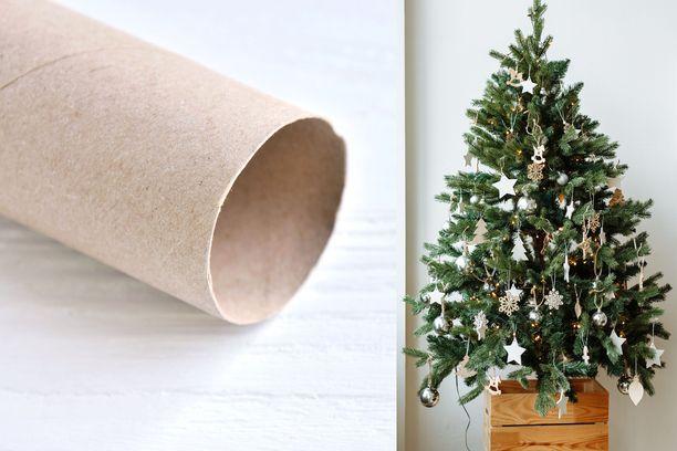 Jouluvalojen johdot eivät mene sekaisin ja solmuun, kun kierrät jokaisen valosarjan erikseen vessanpaperihylsyn ympärille.