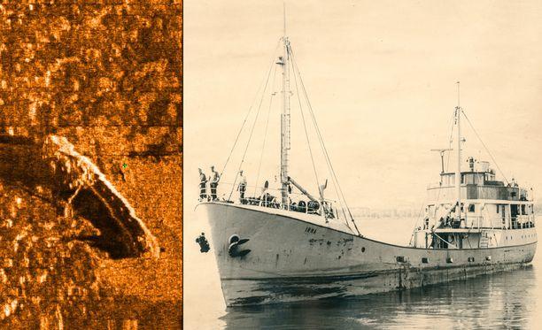 M/S Irman hylky on löytynyt yli 50 vuoden jälkeen uppoamisesta. Vasemmalla viistokaikukuva aluksesta. Oikealla laiva miehistöineen.