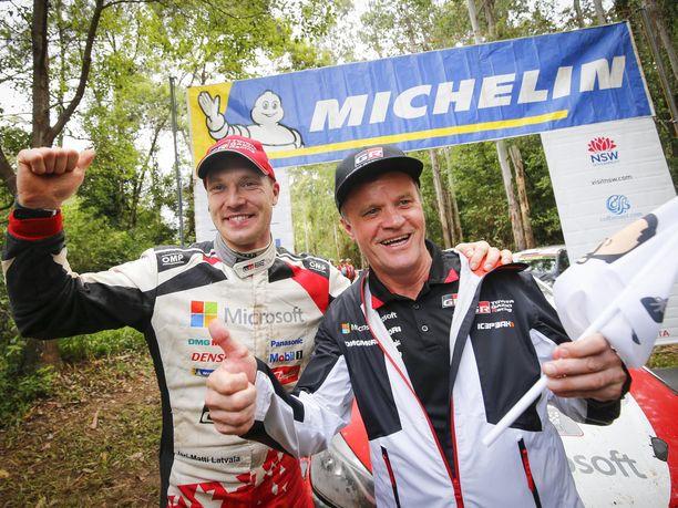 Latvala ja Mäkinen pääsivät juhlimaan yhdessä MM-rallivoittoa ensimmäisen kerran sitten viime vuoden Ruotsin rallin.