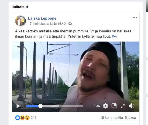 Kuvakaappaus artistin Facebook-sivuilla julkaistusta videosta. Laiska Leppone oli hypännyt tavarajunan kyytiin ystävänsä kanssa hetken mielijohteesta.