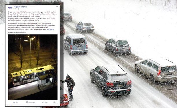 Pohjolan liikenne julkaisi kuvan vaarallisesta tempusta Facebook-sivullaan.