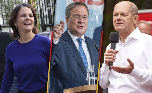 Saksan liittokansleriksi pyrkivät vihreiden Annalena Baerbock, CDU/CSU:n Armin Laschet ja SPD:n Olaf Scholz.