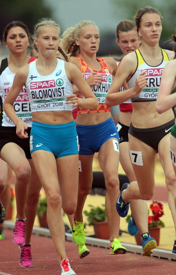 Nathalie Blomqvist kilpaili vuosi sitten alle 18-vuotiaiden arvokisoissa.