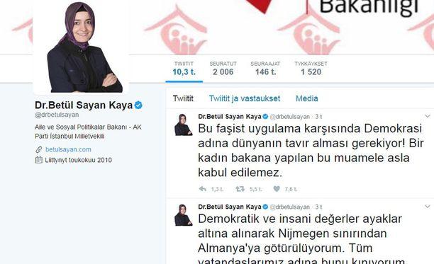 Turkkilaisministeri on arvostellut kovasanaisesti saamaansa kohtelua Twitterissä.