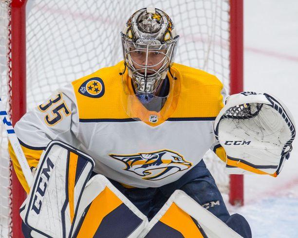 Pekka Rinne on ehdolla NHL:n parhaaksi maalivahdiksi.