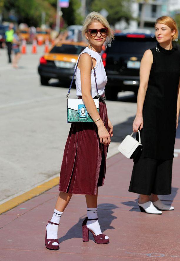 Muotibloggaajat eivät yhdistä sandaaleihinsa mitä tahansa markettisukkia vaan Guccin luksussukat.