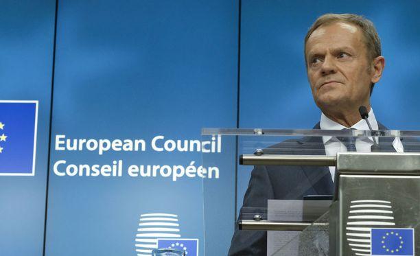 Eurooppa-neuvoston puheenjohtaja Donald Tusk Brysselissä torstaina 22. maaliskuuta.