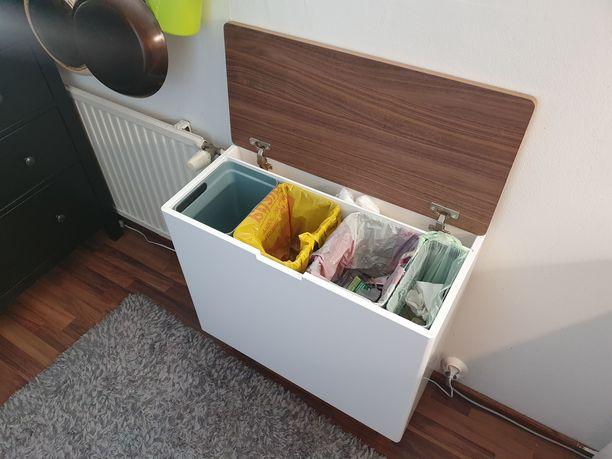 Näin Tarkka sai kotonaan kierrätyksen toimimaan. Hän antoi kierrätysastialle nimeksi Kierto. Laatikkoon sopivat sangot hän haki kaupasta.