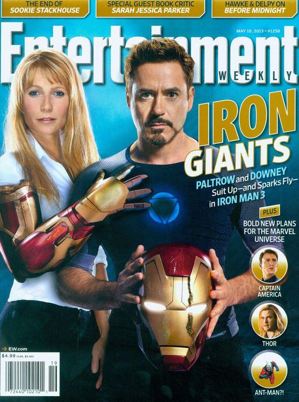Gwyneth Paltrow ja Robert Downey Jr Entertainment Weekly -lehden kannessa Iron Man 3 -elokuvan vuoksi.