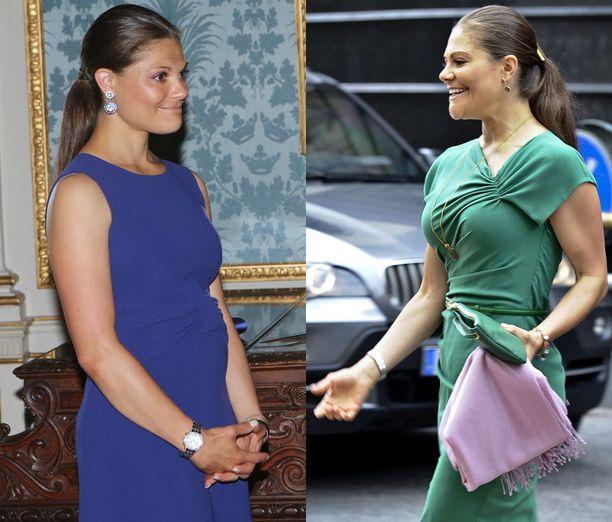 RASKAANA... Ruotsalaislehti julkaisi tämän kuvan (vas.) ja vihjaili kruununprinsessan mahdollisesta raskaudesta. Torstainen kuva (oik.) kertoo kuitenkin toisenlaista tarinaa.