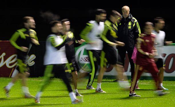 Espanjan päävalmentaja Vicente del Bosque kolmantena oikealla seuraamassa torstaisia harjoituksia Brasiliassa.