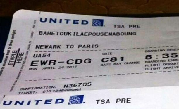 Boardin pass ei jätä tulkinnan varaa. Siinä lukee Newark to Paris. Tällä kortilla nainen kuitenkin pääsi San Franciscon lennolle.