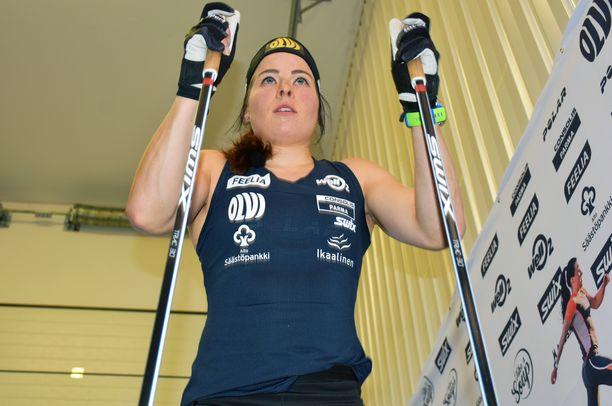 Tasatyöntöharjoittelu on korostunut Krista Pärmäkosken treenissä.