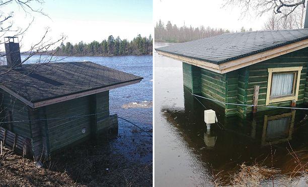 Ivalojoen vesi nousi vuorokauden aikana huomattavasti. Ivalo river campingin rantasauna kastui perjantaina, mutta jo lauantaina tulvavesi ylsi lähes saunan ikkunan alareunalle.