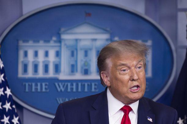 Yhdysvaltain presidentti Donald Trump lehdistötilaisuudessa 3. elokuuta.