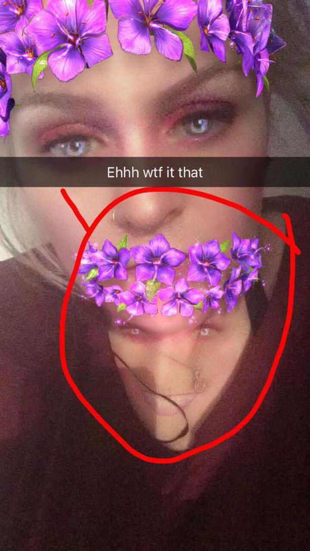 Näin Rachel jakoi kuvan Snapchatissa.