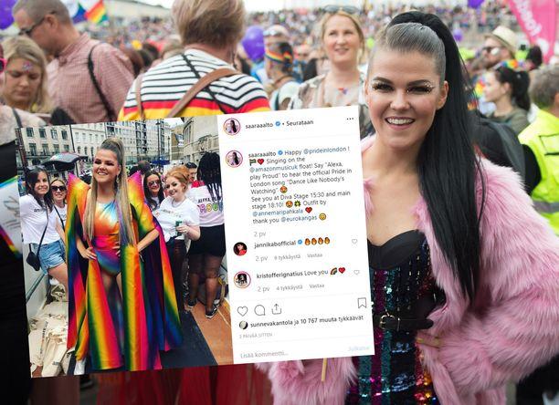 Saara Aallon Pride-asu Lontoossa on herättänyt ihastusta.