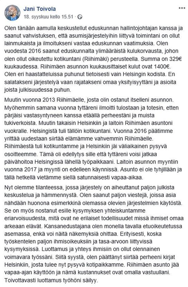 Toivola ilmoitti tiistaina siirtävänsä perheensä kirjat takaisin Helsinkiin kulukorvauskohun takia.