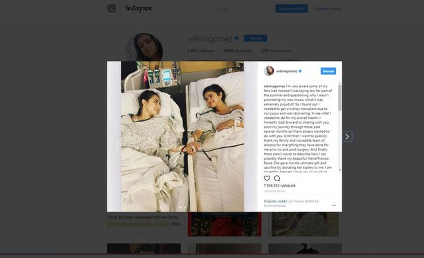 Selena Gomez kertoo Instagramissa saaneensa uuden munuaisen ystävältään.