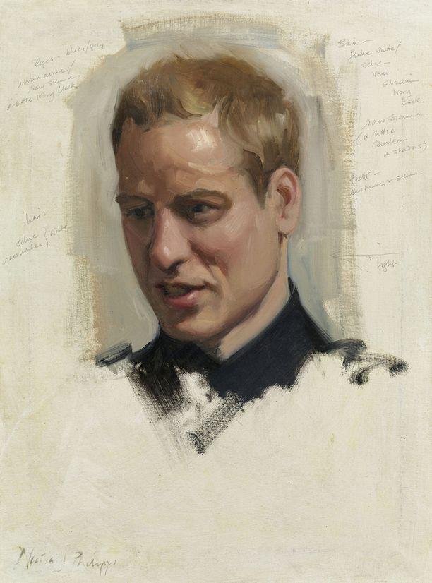 Nicky Philippsin öljyväriluonnos prinssi Williamista vuonna 2009.