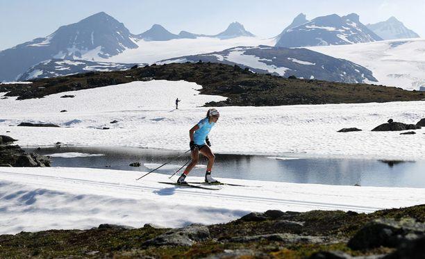 Therese Johaug harjoitteli keskiviikkona Norjan Sognefjelletissä.