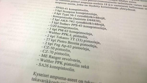 Takavarikoidut aseet listattuna syytekirjelmässä.