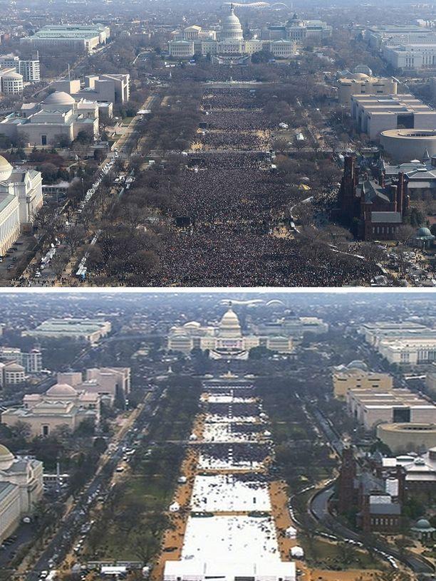 Ylemmässä kuvassa Barack Obaman ensimmäiset virkaanastujaiset, alemmassa perjantaina järjestetyt Donald Trumpin virkaanastujaiset. Virallisia lukuja yleisömäärästä ei ole.